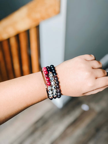 Cranberry spritz gemstone stacking bracelets //