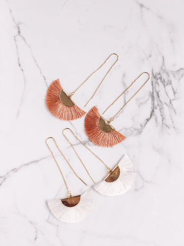 Silk fan threader earrings //
