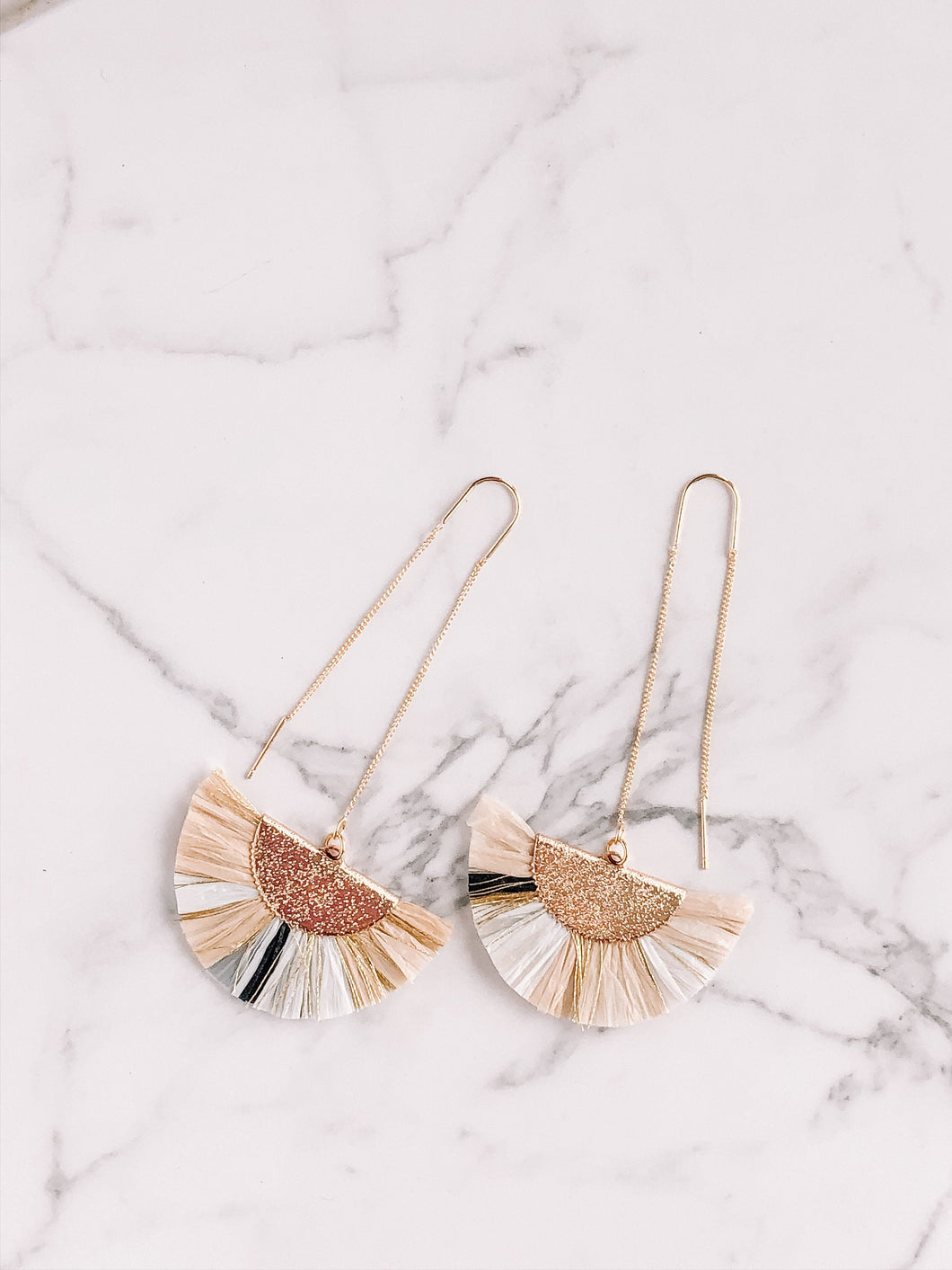 Raffia fan threader earrings //