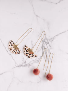 Faux fur pom pom threader earrings //