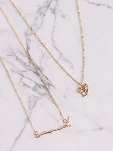 Tree branch gold necklace //