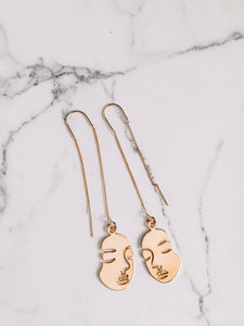 Two faced threader earrings //