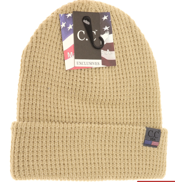 MADE IN USA WAFFLE KNIT BEANIE