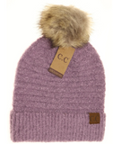 SOLID BOUCLE KNIT POM CC