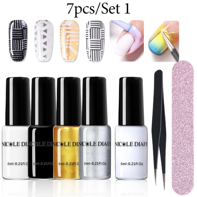 NICOLE DIARY Nail Art Stamping Polish Colorful  Black White Nail Art Plate Printing Polish Varnish Nail Art Decoration