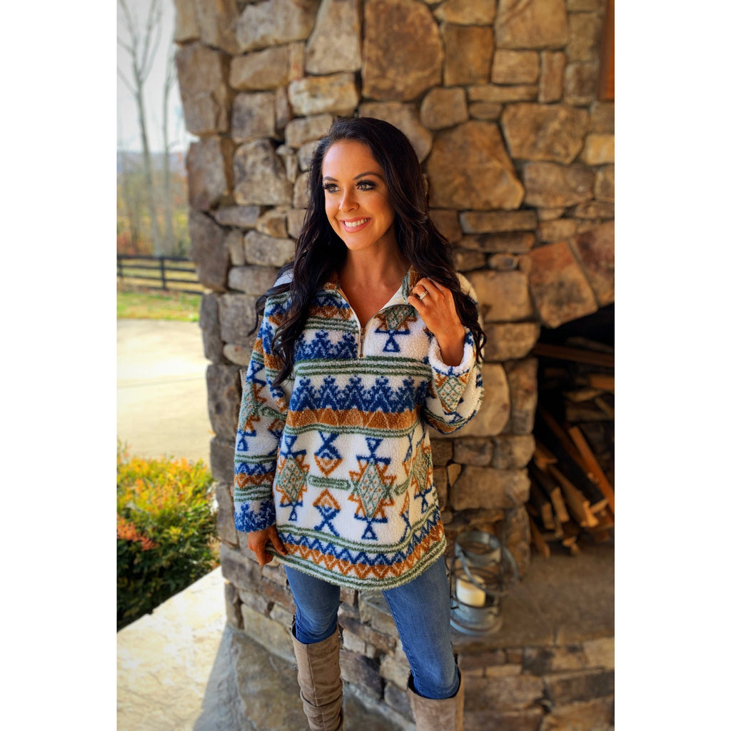 Sherpa Zip-Up Aztec Pullover