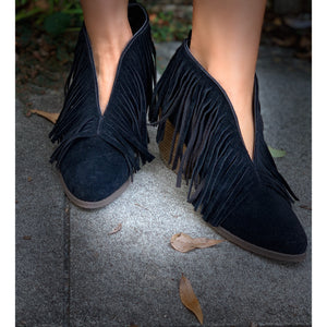 Boho V-Shaped Fringe Booties