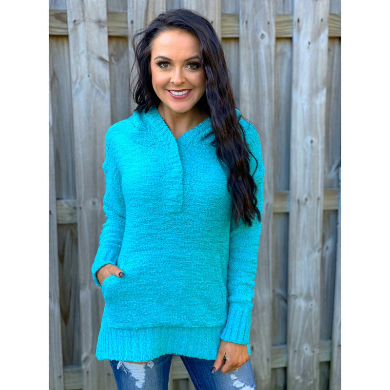 Turquoise Hoodie Sweater
