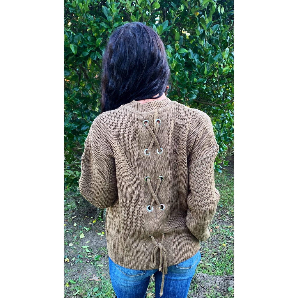 Criss Cross Mocha Sweater