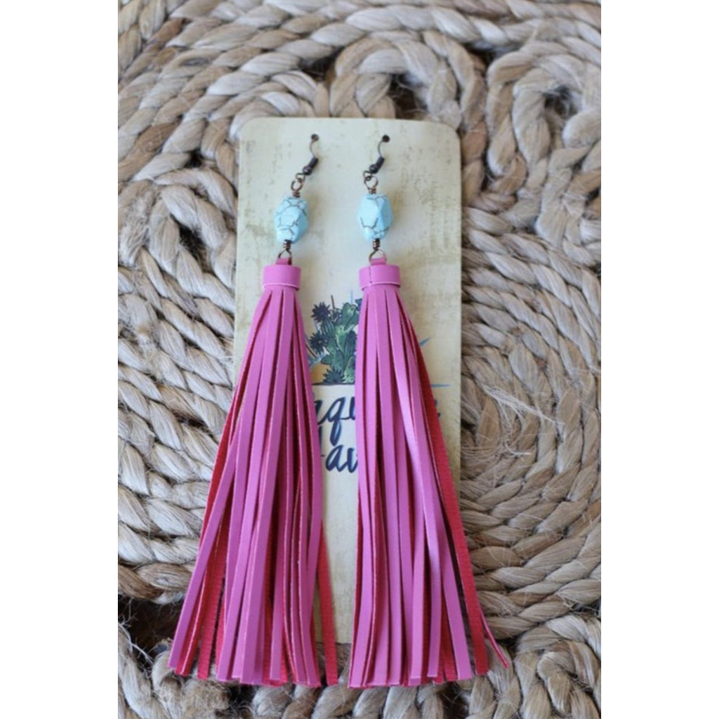 Fuchsia Leather Tassel and Turquoise Stone Earrings