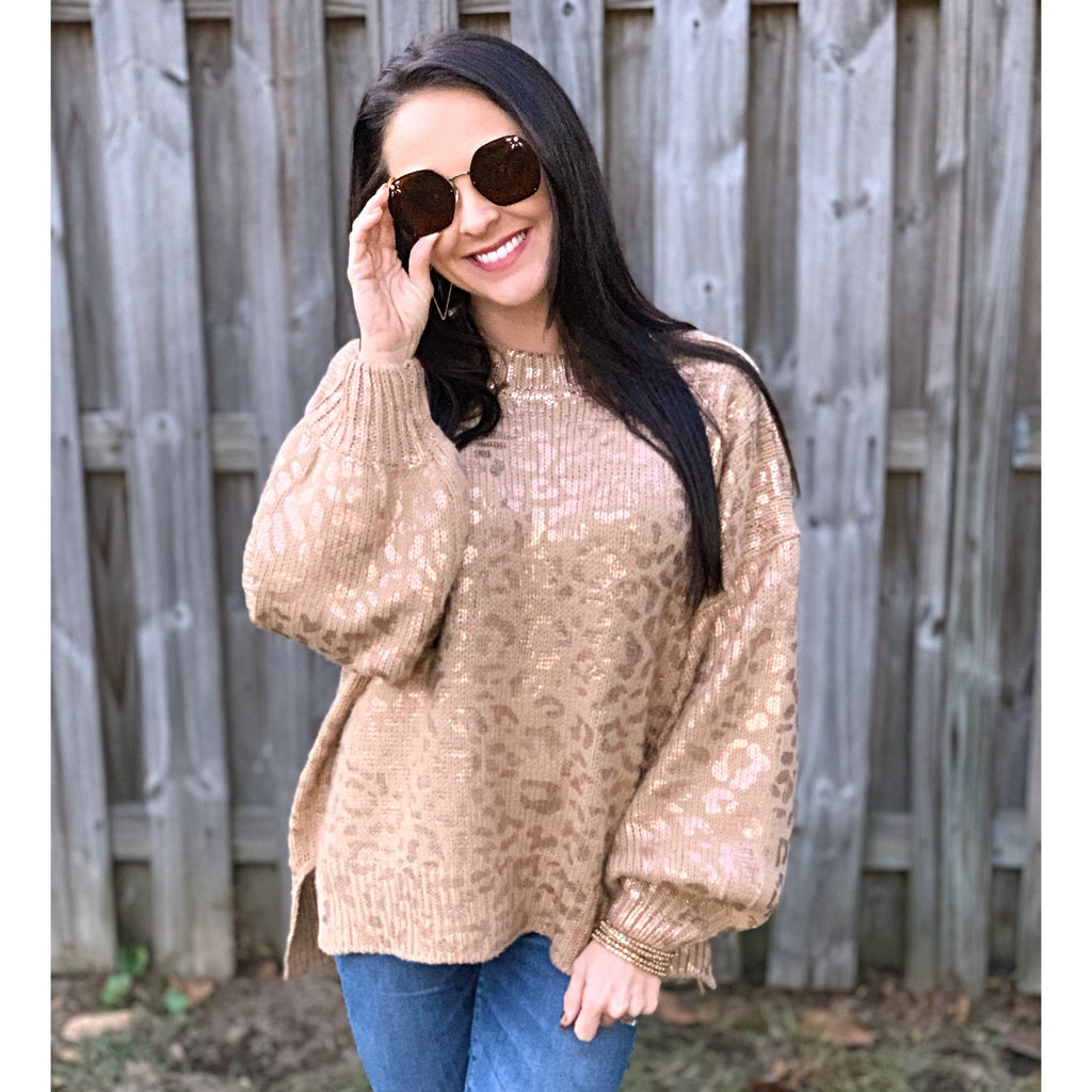 Metallic Leopard Sweater
