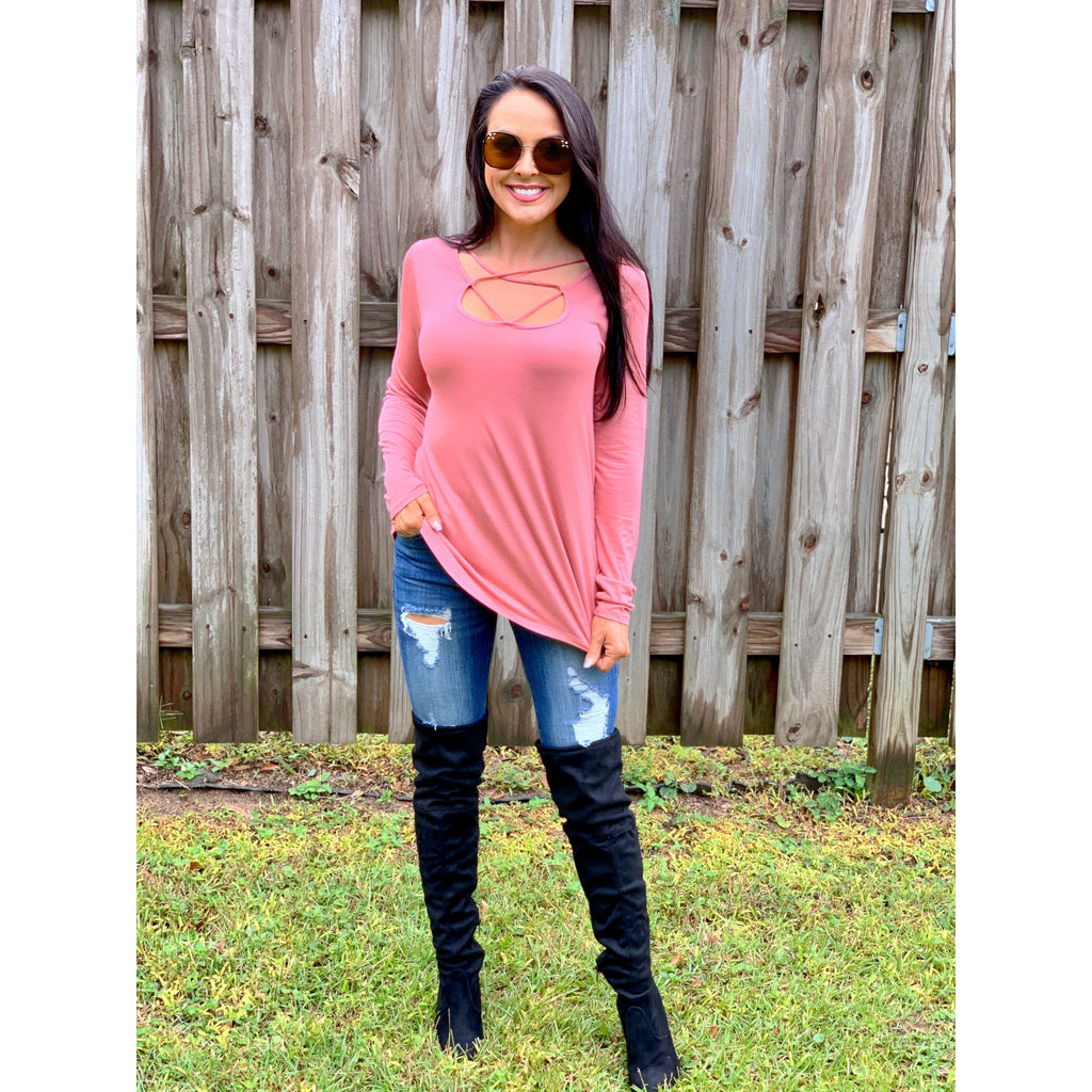 Criss Cross Long Sleeve Top