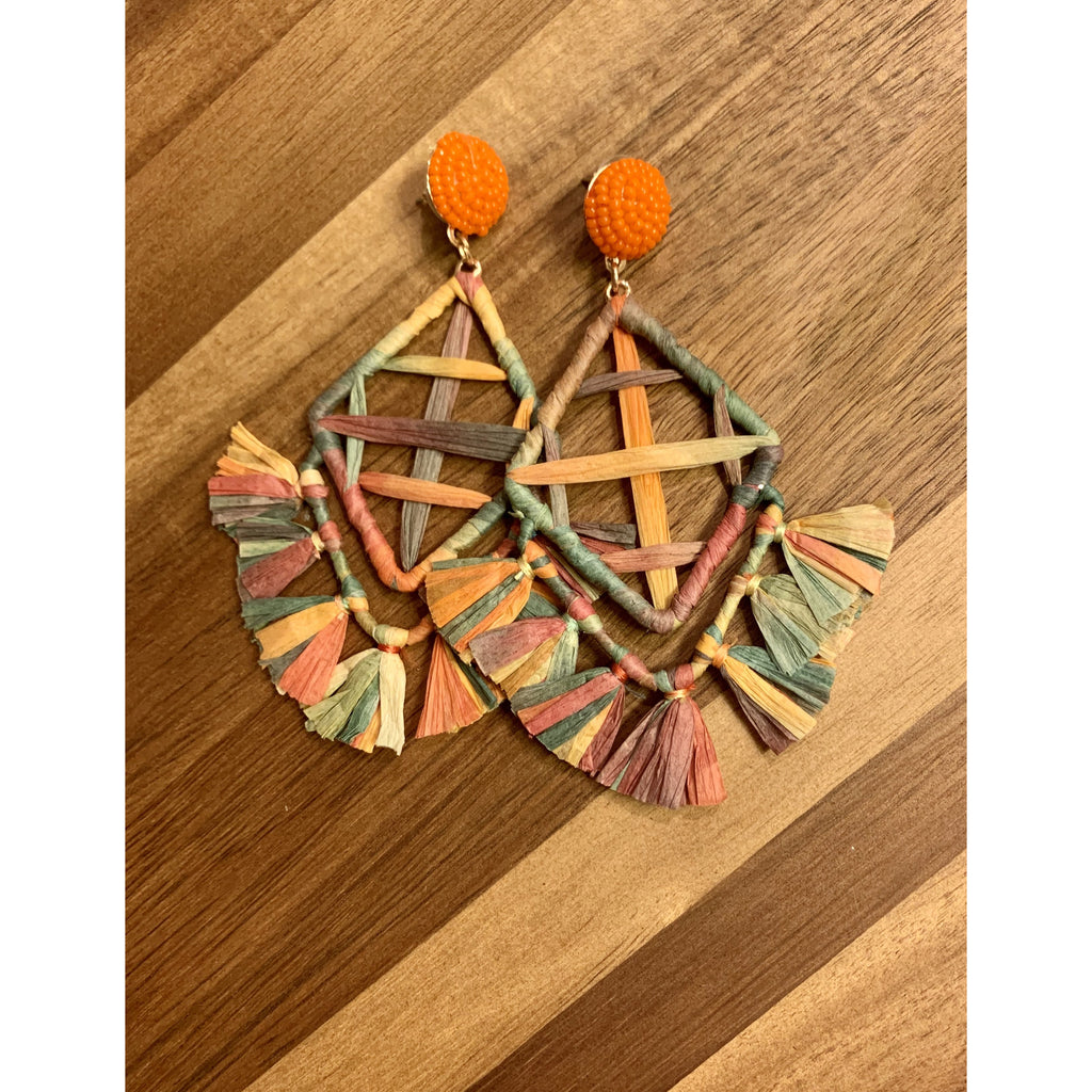 Multi-Color Raffia Earrings