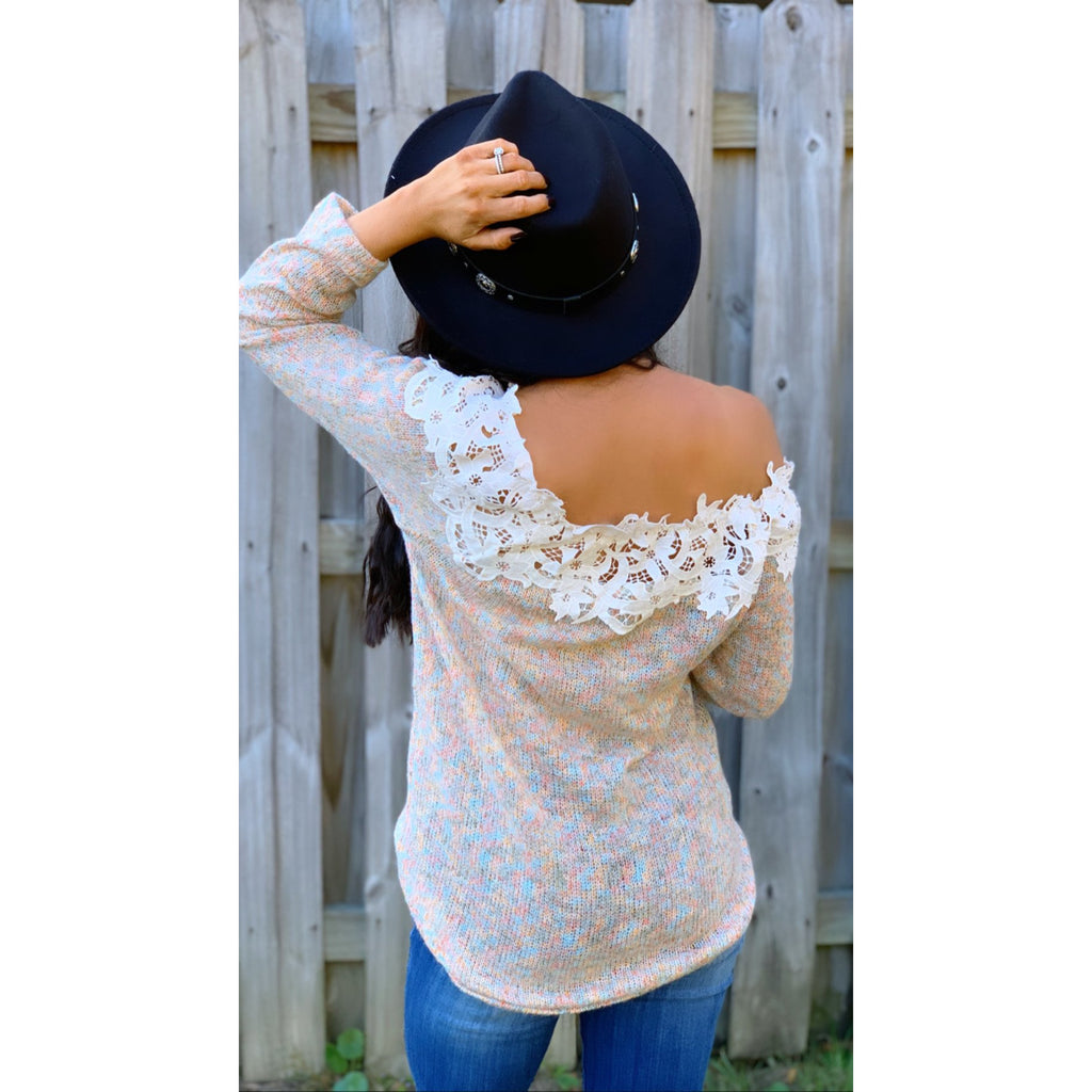 Sprinkled Crochet Neck Sweater