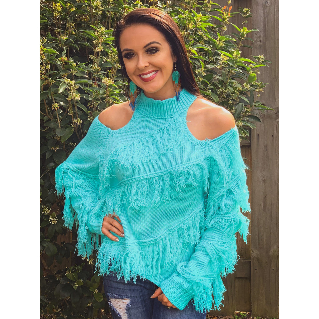 Aqua Fringe Sweater Top