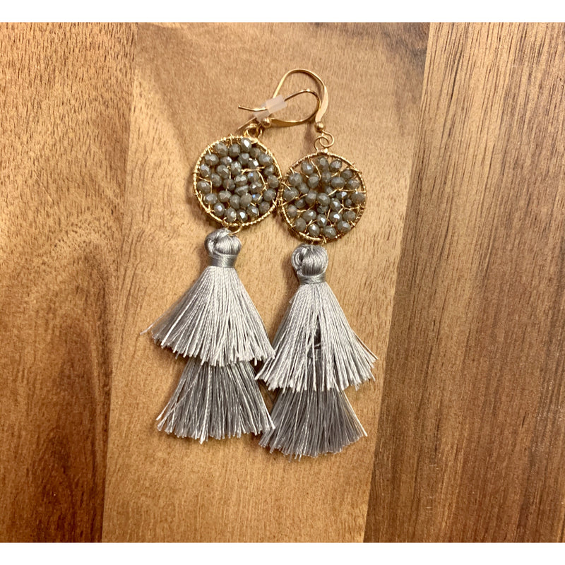 Glass Wired Tassel Earrings