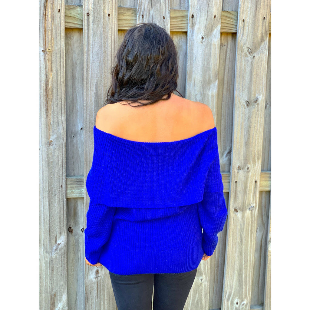 Cobalt Blue Off the Shoulder Sweater