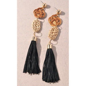 Black & Brown Tassel Earrings
