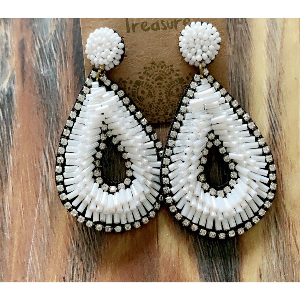 White Seed Bead Earrings