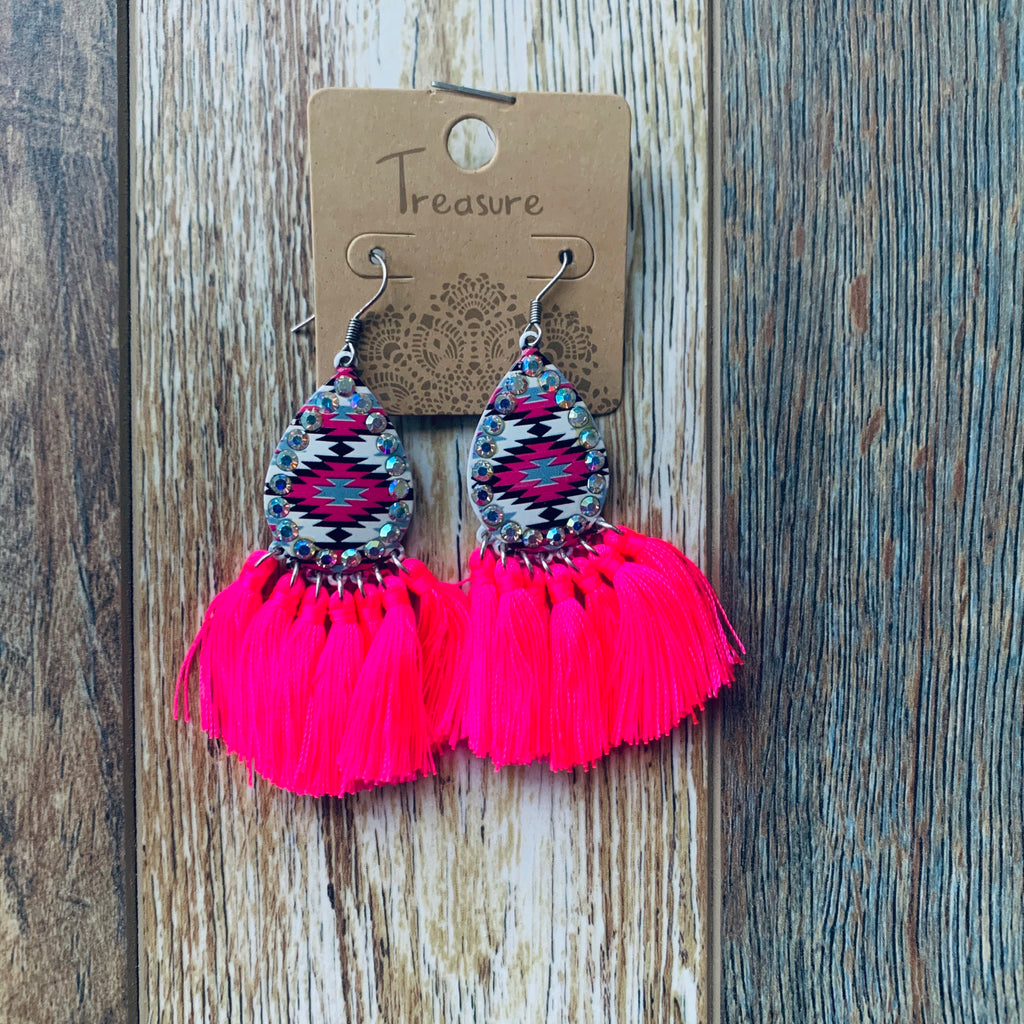 Neon Pink Rhinestone Earrings
