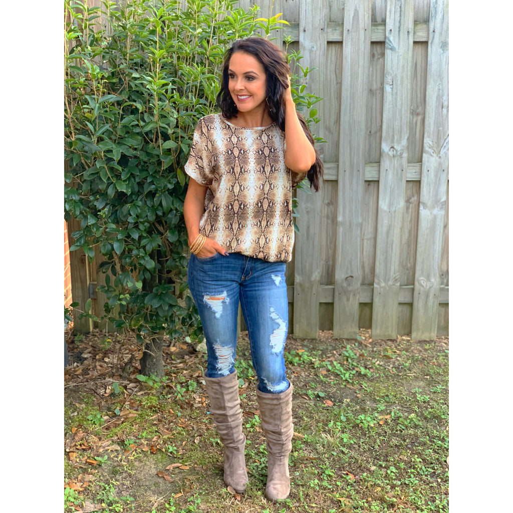 Snakeskin Twisted Top