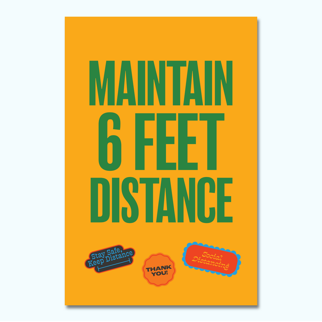 Maintain 6 Feet Distance Poster-Poster-Hey There Signs