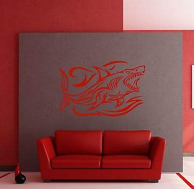 Wall Stickers Shark and Waves Ocean Predator Marine Art Mural Vinyl Decal 288