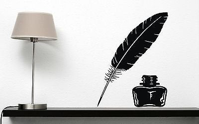 Wall Vinyl Sticker Decor Vintage Items for Writing Letters Pen and inkwelln199