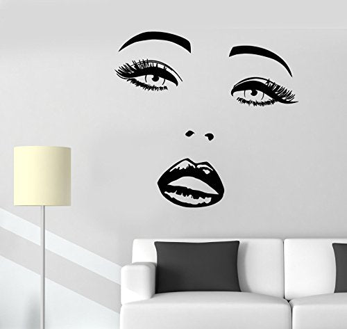Vinyl Wall Decal Sexy Girl Face Makeup Lips Eyes Beauty Salon Stickers 2309