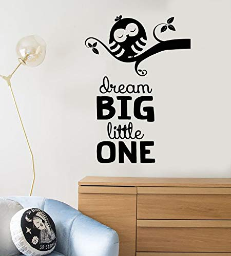 Vinyl Wall Decal Cartoon Bird Owl On Branch Quote Dream Stickers 1832