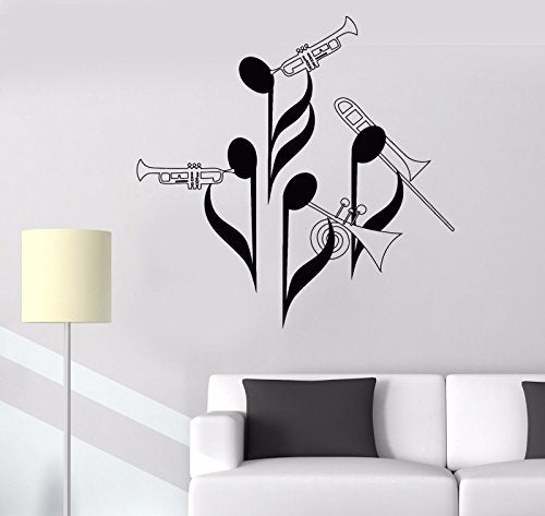 Vinyl Wall Decal Notes Musicians Orchestra Wind Instrument Tuba Stickers 758