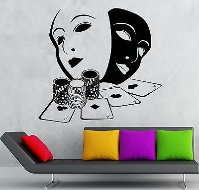 Wall Stickers Cards Poker Gambling Casino Masks Art Mural Vinyl Decal 1915