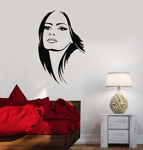 Vinyl Decal Beautiful Woman Beauty Salon Hair Stylist Wall Stickers 2133