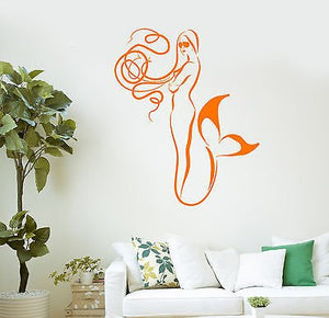 Wall Vinyl Sticker Decal Mermaid Bathroom Decor Kids Room Art 2120
