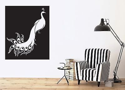 Wall Sticker Vinyl Wonderful Bird Peacock Plumage Pretty Unusual Tail n509