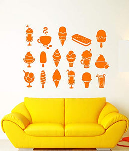 Vinyl Wall Decal Ice Cream Truck Man Dessert Food Coffee Cafe Stickers 1695