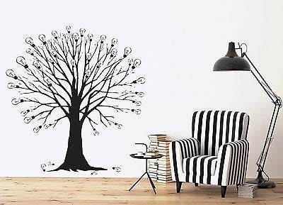 Wall Vinyl Sticker Decal Tree Branches Idea Light Bulb Abstract Decor n333
