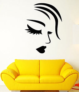 Vinyl Wall Decal Girl Face Sexy Lips Eyelashes Fashion Makeup Stickers 1809