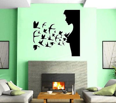Hair Beauty Salon Sexy Butterfly Hot Girl Wall Art Decor Vinyl Sticker z262