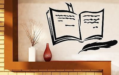 Wall Sticker Vinyl Decal Book Pen Poetry Prose Training Bookmark n290