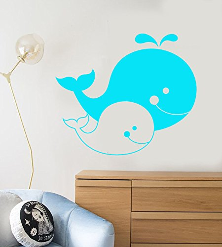 Vinyl Wall Decal Cartoons Family Whales Sea Ocean Animals Stickers 1213