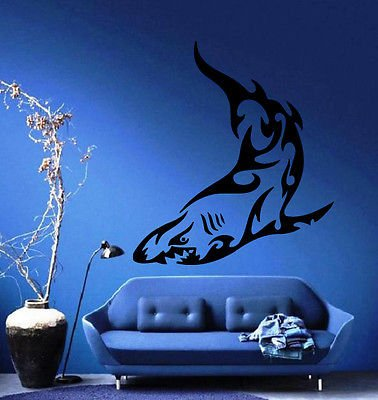 Shark Ocean SEA Marine Tribal Decor Wall Mural Vinyl Art Sticker M212