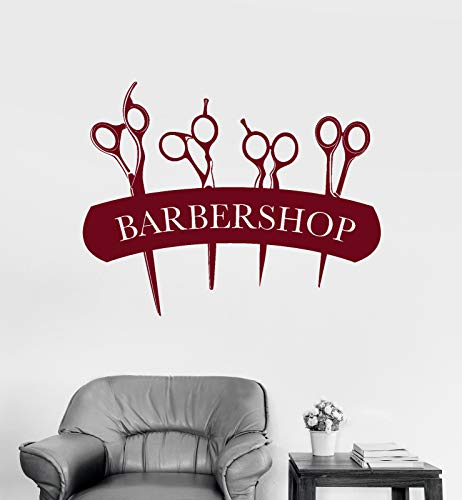 Vinyl Wall Decal Barbershop Signboard Scissors for Hair Cutting Stickers 1419ig