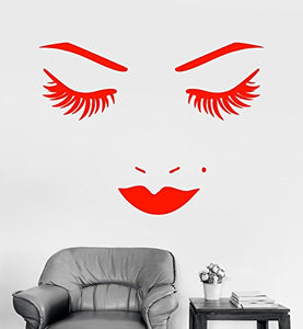 Vinyl Wall Decal Face Lips Eyelash Beauty Salon Makeup Stickers 898