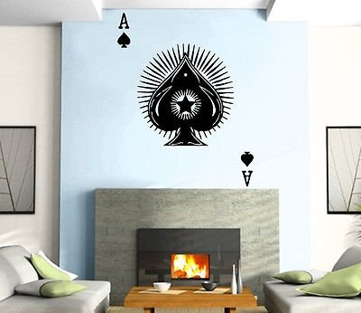 Poker Cards Good Luck Casino Las Vegas Ace Wall Art Decor Vinyl Sticker z738