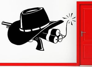 Wall Sticker Vinyl Decal Cowboy Gun and Hat Wild West Western Decor z1105