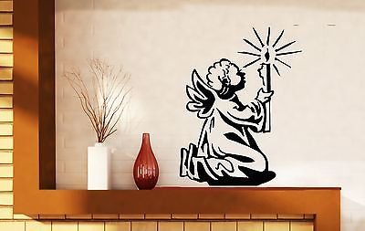 Wall Vinyl Sticker Decal Angel with Wings Christmas Star Light Miraculous n335