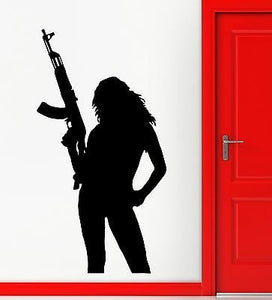 Wall Stickers Hot Sexy Silhouette Gun Military Girl Art Vinyl Decal 1914