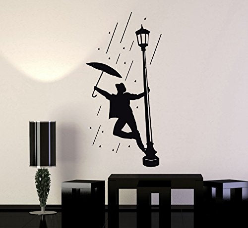 Wall Stickers Vinyl Decal Man in The Rain Umbrella for Living Room ig1311