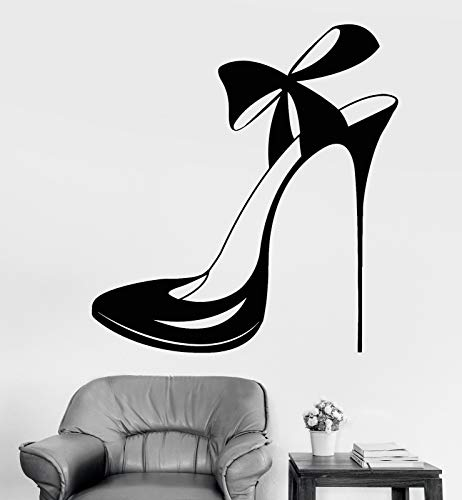 Vinyl Wall Decal Beautiful Shoe with Bow Store Shop Fashion Stickers 1220
